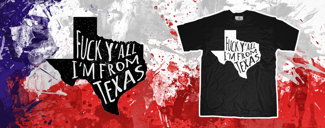 Fuck y'all typography in Texas shape tshirt