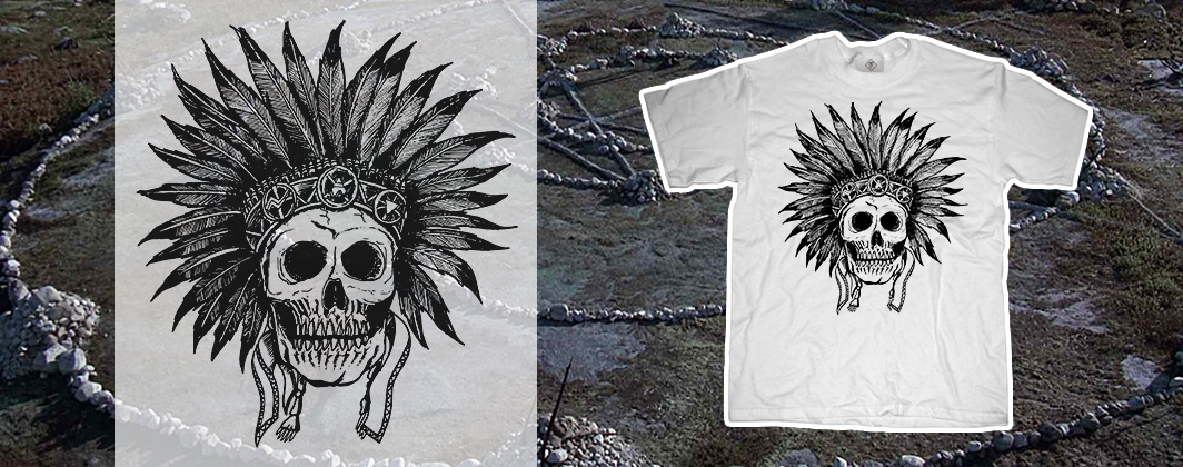 Indian skull line art tshirt