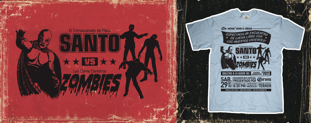 El santo vs zombies vintage poster tshirt