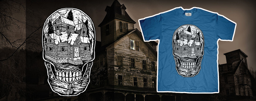 Haunted house inside skull tshirt
